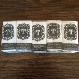 Monogram Initial T Pocket Purse Pack of 10 Tissues